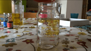 Water and oil in a jar, showing that they don't mix
