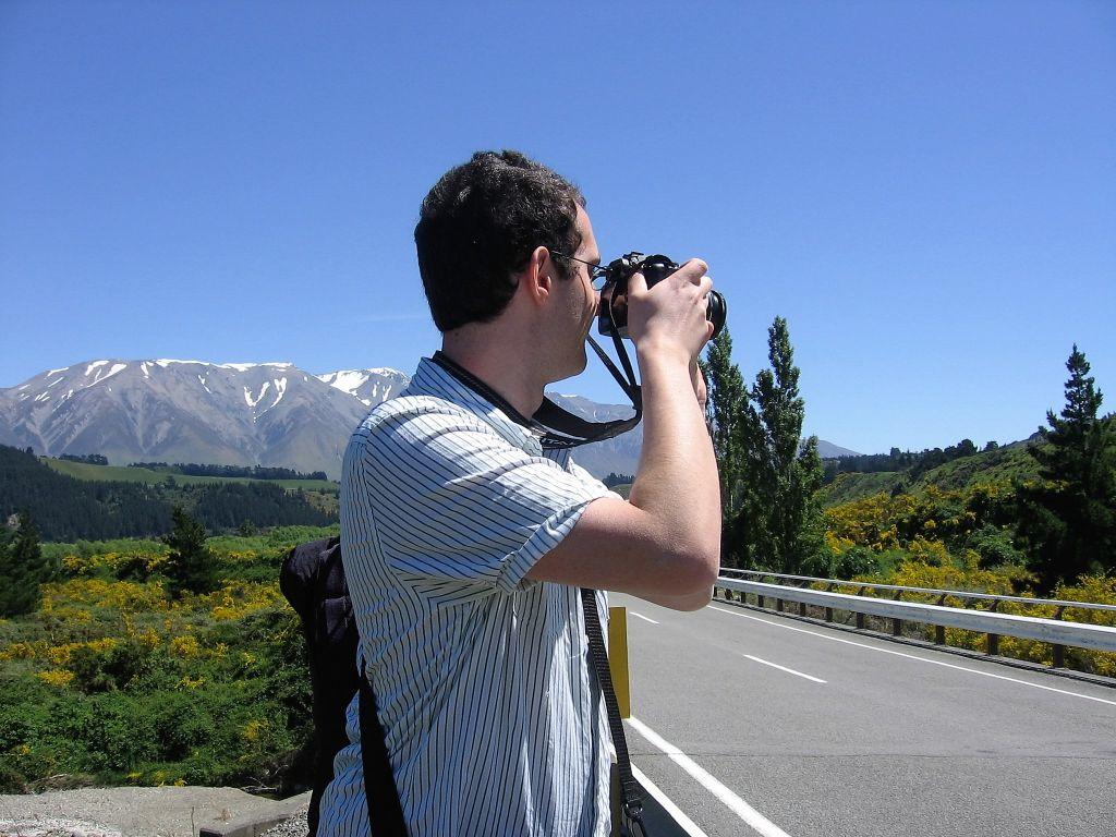 Jacob taking a photograph, South Island, New Zealand