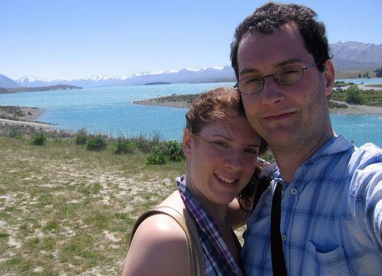 Me and my husband at Lake Pukaki New Zealand South Island