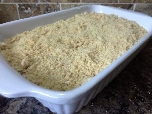 Apple crumble in oven proof dish