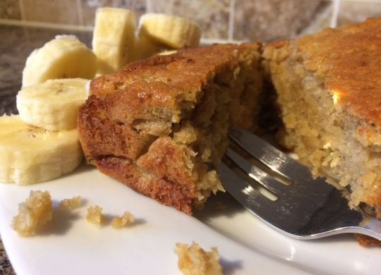 Banana loaf, served with freshly sliced banana