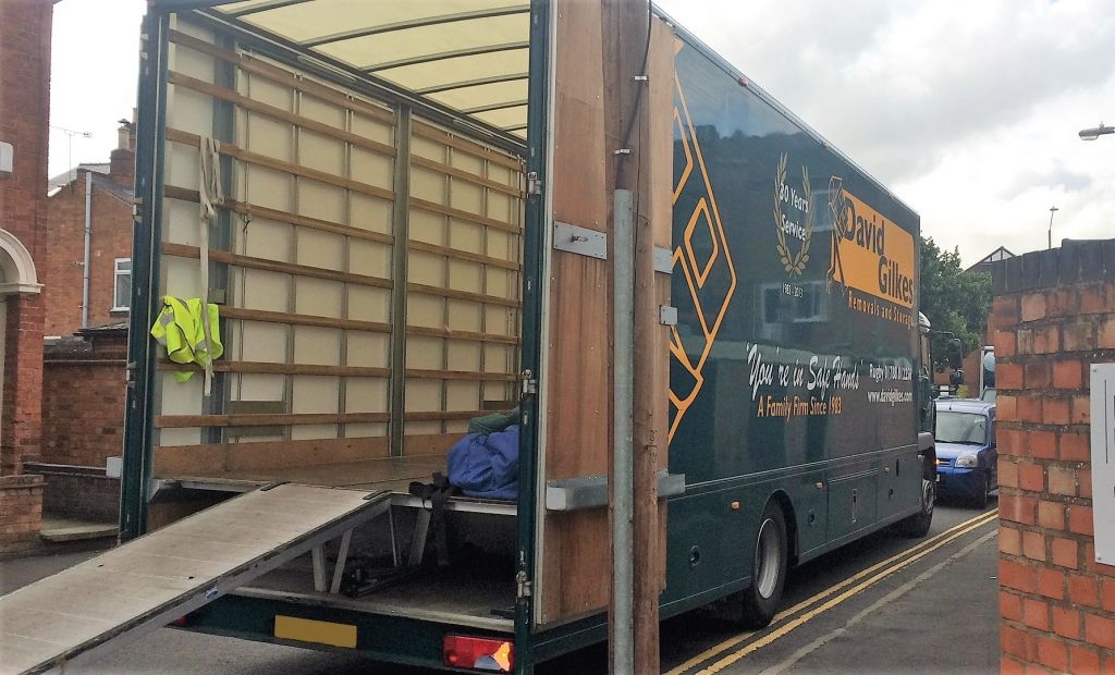 Removals van loading our boxes