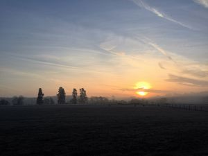 Sunrise over fields in Warwickshire