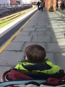 Boy at train station