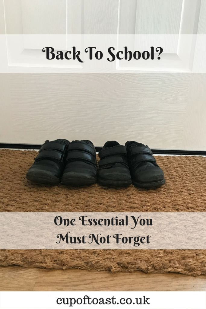 Photo of school shoes on a doormat