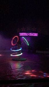 Brightly lit hula hoops