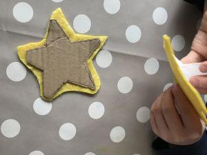 Adding felt to cardboard stars
