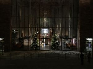 Through the windows of Coventry Cathedral at night