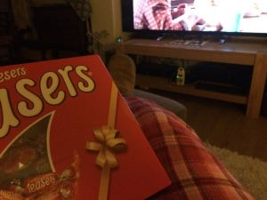 Feet up with maltesers