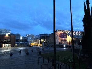 University Square, Coventry, at dusk