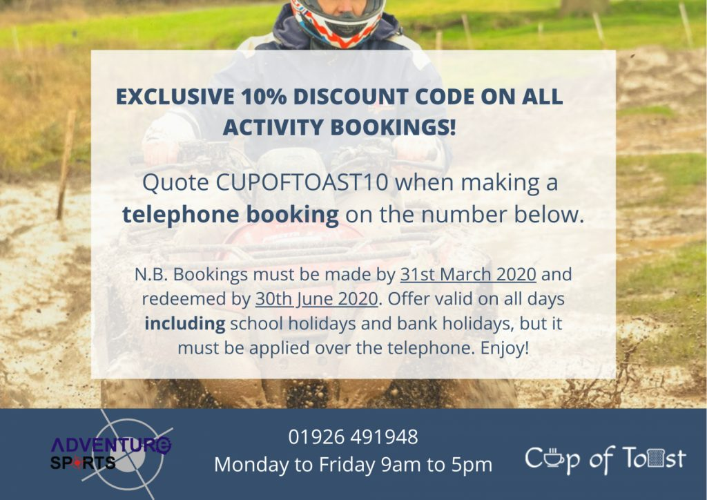 Cup of Toast Discount Code Adventure Sports Warwick