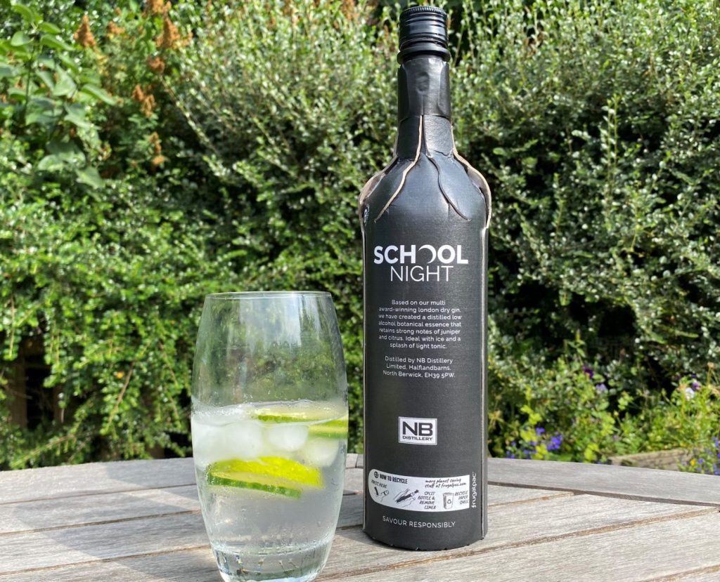School night gin reverse of bottle